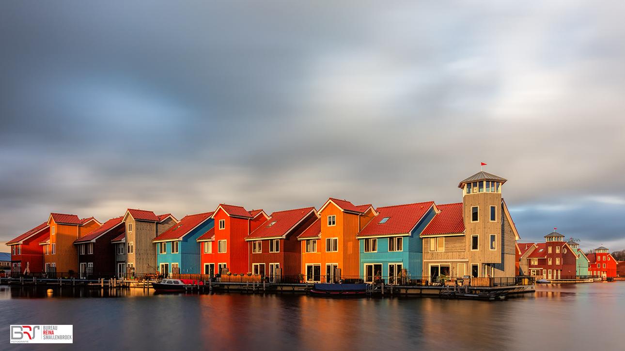 Gekleurde huiszen Reitdiephaven Groningen