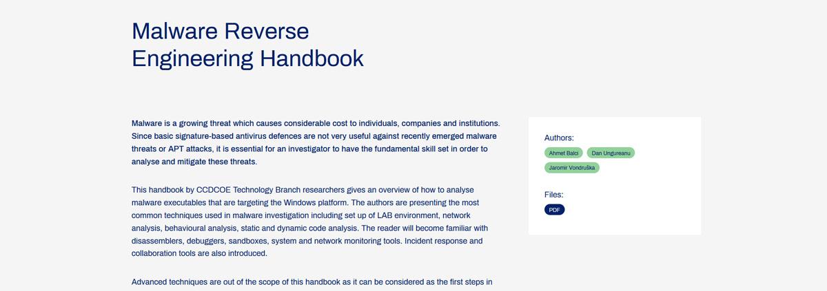 Link voor reverse malware handboek
