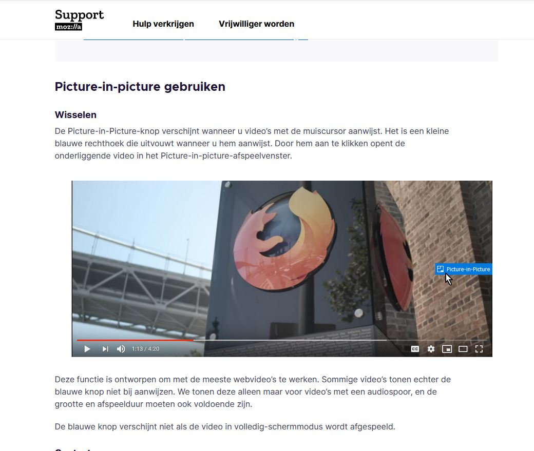 Picture in Picture Firefox