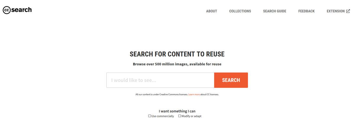 Website Creative Commens Zoekmachine