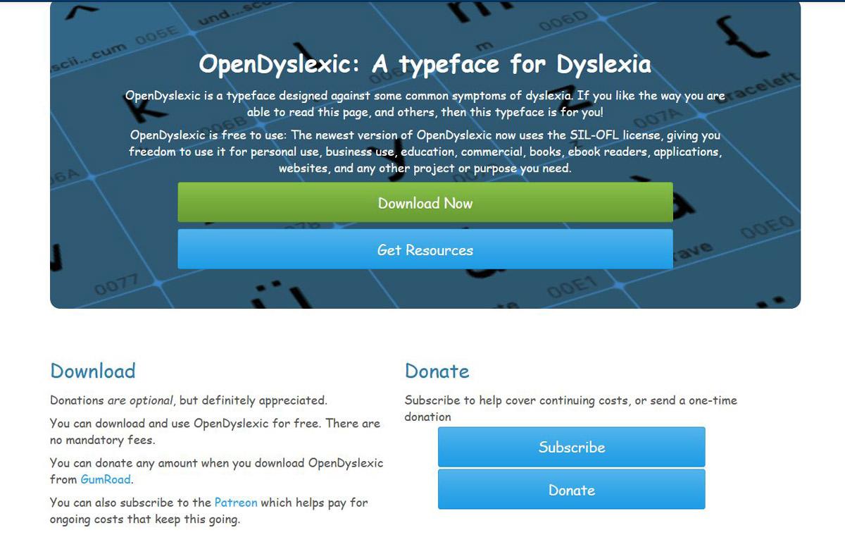 Lettertype Open Dyslexic