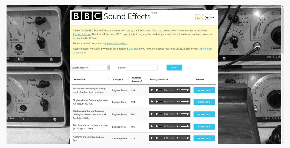 Website BBC Sound Effects